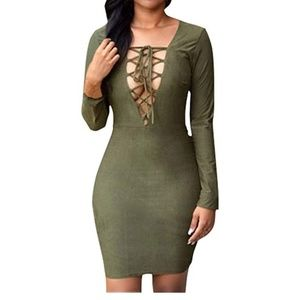 Plunging Neck Lace-up Faux Suede Midi Dress